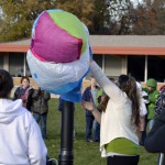 Photo of Rosecrest Elementary teacher holding hot air balloon