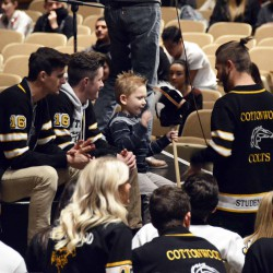 Photo of Cottonwood High SBOs speaking with young child