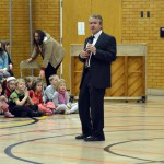 Photo of guest speaker addressing Upland Terrace students