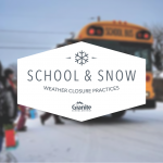 Photo illustration of weather closure logo and school bus in snow