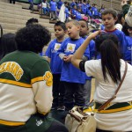 Photo of kindergarteners speaking with Kearns High SBOs