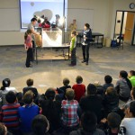Photo of Armstrong Academy students watching air quality demonstration