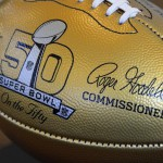 Photo of commemorative Super Bowl football at Skyline High