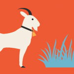 Graphic vector of goat and grass
