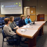 Photo of administrators presenting information to board of education