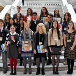 Photo of art competition winners on steps of Utah Capitol