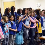 Photo of Taylorsville Elementary choir performing at board meeting