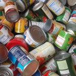 Photo of cans collected for food drive