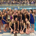Photo of Skyline High girls swim team posing with trophy