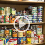 Photo illustration of shelves of canned food and 'play' button
