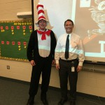 Photo of superintendent posing with Wright Elementary principal
