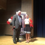 Photo of student receiving Utah History Day award