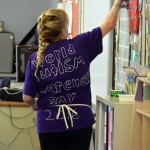 Photo of teacher wearing World Autism Day t-shirt