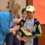 Photo of Whittier Elementary student receiving Safety Patrol award