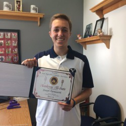 Photo of Academic All State recipient displaying certificate