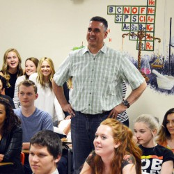 Photo of Cottonwood High teacher receiving Huntsman Award