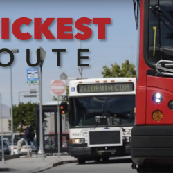Photo of UTA buses with 'Quickest Route' text