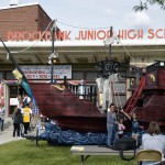 Photo of pirate ship placed outside Brockbank Jr High