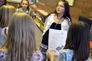 Calvin Smith Elementary students reciting Chinese words in group