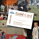 Photo collage of school play, basketball game, performing elementary student, and football game with sample Gold Card overlay.
