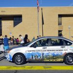 Utah Clean Cities car parked in front of Jefferson Jr High