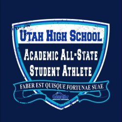Vector of shield and scroll with text 'Utah High School Academic All-State Student Athlete""
