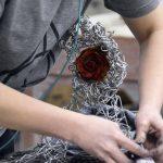 Close up of hand built sculpture