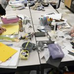 Two students working with mixed media