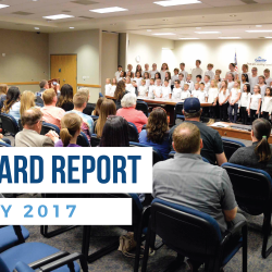 Calvin Smith students sing during board meeting and overlay text 'Board Report | May 2017'