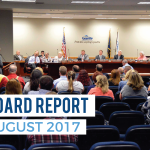 Member of the public addresses board of education and text 'Board Report August 2017'