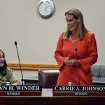 Carrie Johnson addresses board members