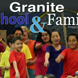 Wilson Elementary students performing play with text 'Granite School & Family Magazine'