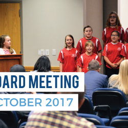 Vista Elementary Lighthouse Team sings at board meeting with text 'Board Meeting October 2017'