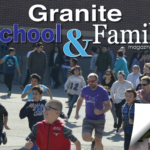 Valley Jr High students running race with text 'Granite School & Family Magazine'