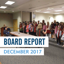 Taylorsville Elementary student perform at board meeting with text 'Board Report December 2017