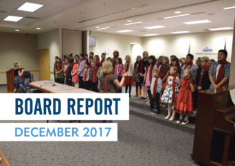 Taylorsville Elementary students perform at board meeting with text 'Board Report | December 2017'