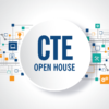 Collage of technology icons with text 'CTE Open House'