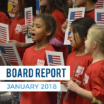 Moss Elementary students sing during board meeting with text 'Board Report January 2018'