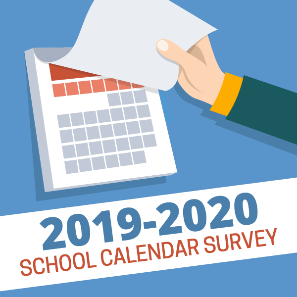 Vector drawing of hand lifting calendar pages with text '2019-2020 school calendar survey'