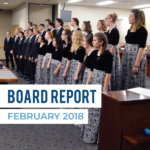 Taylorsville Madrigals perform at board meeting with text 'Board Report February 2018'