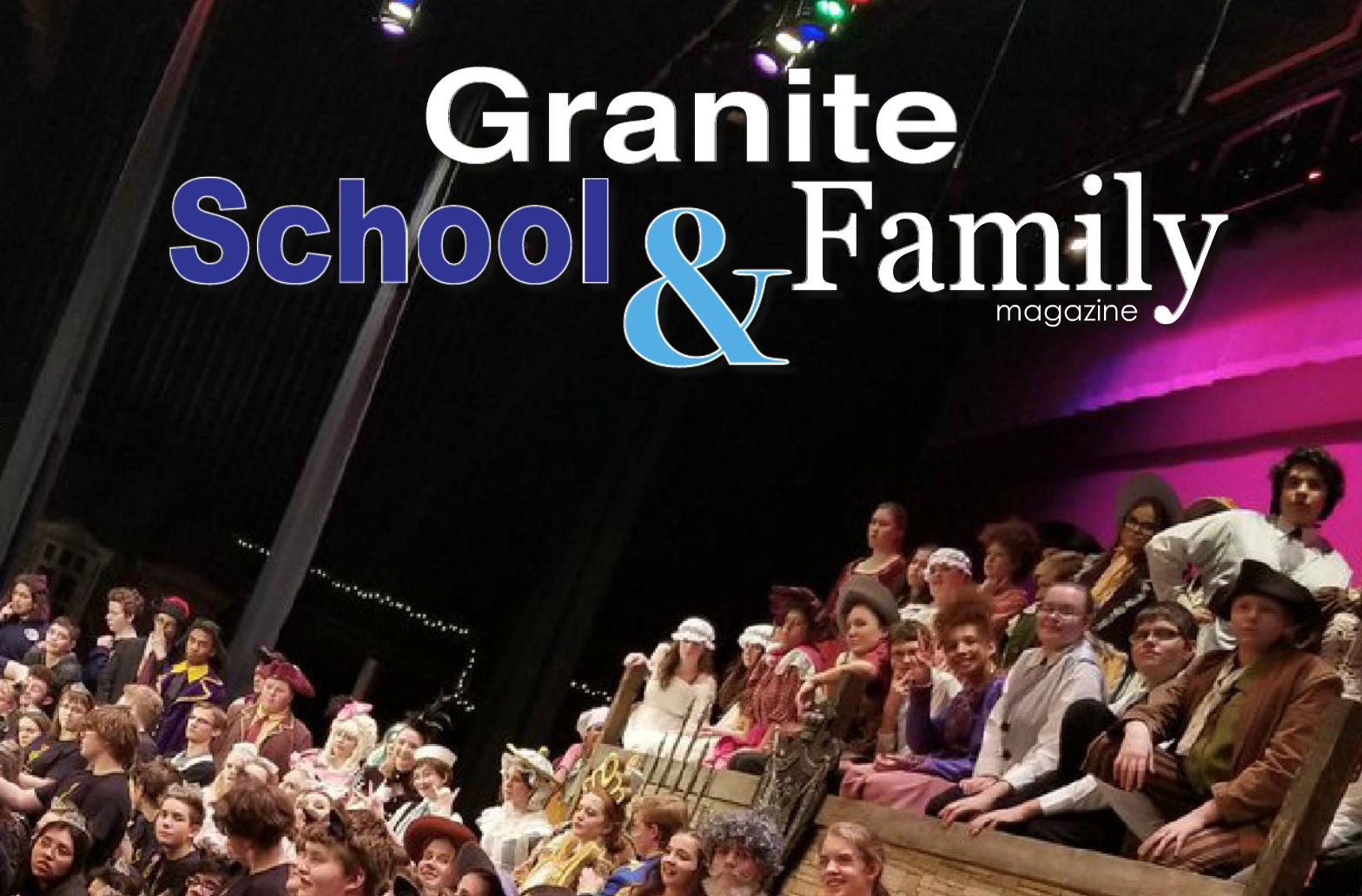Cottonwood High musical cast members with text 'Granite School & Family Magazine'
