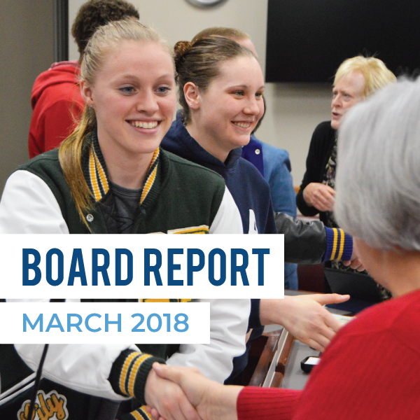 State champion athletes shake hands with board members and text 'Board Report March 2018""