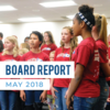 Diamond Ridge Elementary students sing at board meeting and text 'Board Report May 2018'