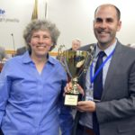 Driggs Elementary staff holding trophy for highest MGP