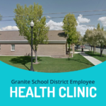 Future employee health clinic building and text 'Granite School District Employee Health Clinic""