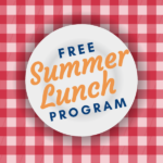 Vector of plate and cloth and text 'Free Summer Lunch Program""