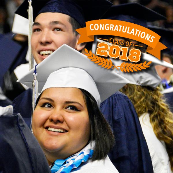 Hunter High graduates and vector text 'Congratulations Class of 2018'