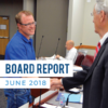 """Jacob Smith shaking hands with business administrator and text 'Board Report June 2018"""""""