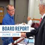 Jacob Smith shaking hands with business administrator and text 'Board Report June 2018""