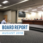Administrator presents to board of education and text 'Board Report August 2018'